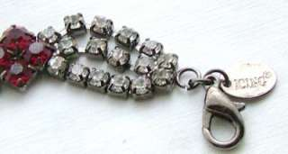 Charcoal Gray tone Ruby Red Triple Clear Rhinestone Modern Bracelet by