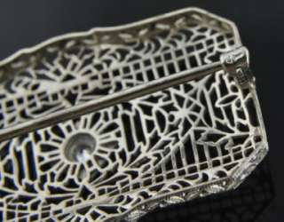 14K White Gold Diamond Art Deco Lace Filigree Bar Pin Brooch
