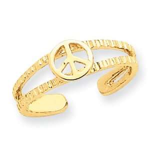 14k Peace Sign Toe Ring Jewelry