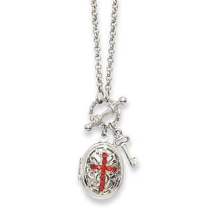 Silver Tone Red Crystal Cross Locket 24 Necklace 1928