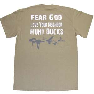 Duck Commander ~ FEAR GOD ~ Hunting T shirt Tee NEW Stone Buck