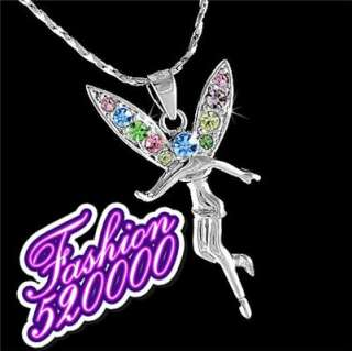 18K White Gold GP colorful Crystal Angel Necklace S04