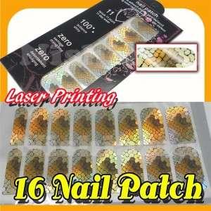 Laser Printing Nail Art Patch Foils Wrap x 16 # Laser Snake Skin NW030