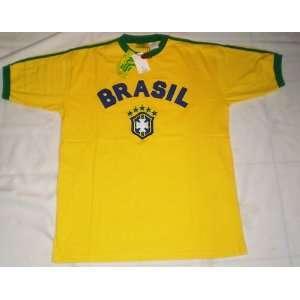 MENS BRASIL BRAZIL SOCCER TSHIRT 100% COTTON SIZE XL   HIGH QUALITY