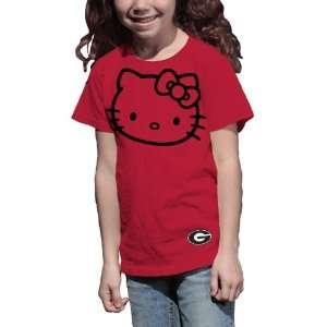 NCAA Georgia Bulldogs Hello Kitty Inverse Girls Crew Tee