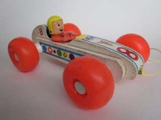 BOUNCY RACER 8 INDY RACE CAR Vintage 1960s Fisher Price Wood wooden
