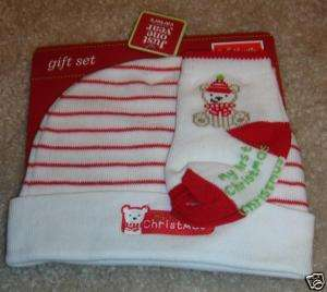 Carters Just One Year My First Christmas Hat & Socks