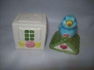 Blue Bird House Salt Pepper Shaker Cute Collectible