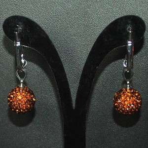 12mm Brown Swarovski Crystal Disco Ball Earring Studs+Gift Box