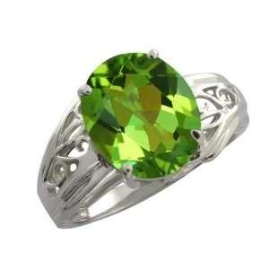 4.15 Ct Oval Envy Green Mystic Quartz Argentium Silver