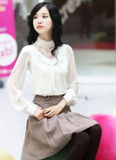 Clothes Lace high neck standing collar Top Shirt T Shirts Blouse