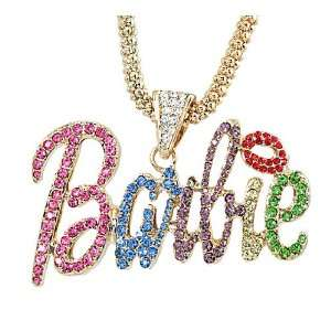 Nicki Minaj Barbie Multicolor Crystal Pendant Charm Gold Tone 18