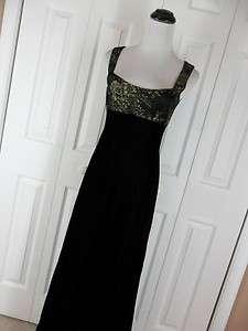 Kay Unger New York 2 Long Black Gold Evening Gown Dress Velvet Prom