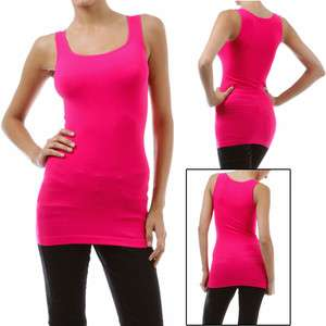 Tank Top Women Seamless Stretch Ribbed One Size LONG FIT (regular back
