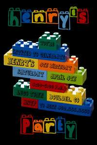 Custom Lego Building Block Birthday Party Invitations