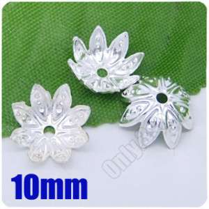 250 Pcs Silver plated flower Lotus beads Caps 10mm P102