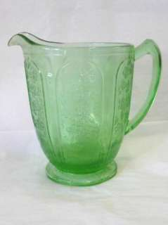 JEANETTE GREEN CHERRY BLOSSOM DEPRESSION GLASS WATER PITCHER