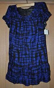 Kensie Pretty Womens Blue/Black Dress Size M NWT
