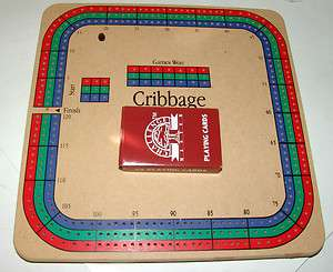 Lot of 2 Vintage Wooden Cribbage Board Games with 54 card deck