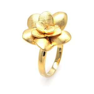 Sterling Silver Gold Plated Rose Ring Size 5 Jewelry