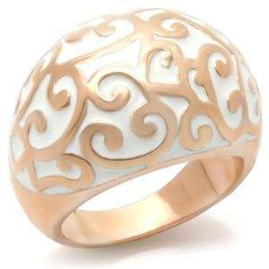 Rose Gold Plated and White Enamel Ring, 7 Jewelry
