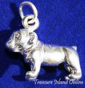BULLDOG ~ BULL DOG BREED PUPPY 3D .925 Solid Sterling Silver Charm