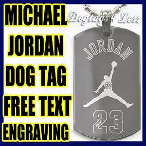 Michael Jordan 23 Design Dog Tag Silver Necklace