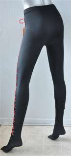 GIANNI VERSACE*COUTURE*Black Leggings Red Lace Up NEW S