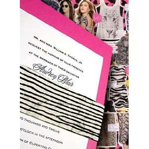 Wedding Invitations Kit Berry Pink with Zebra Print Sash