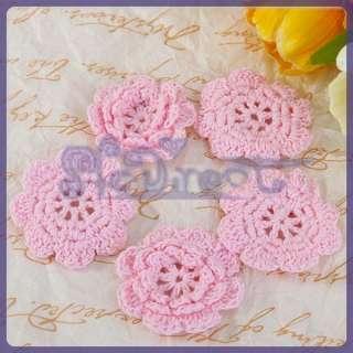 Crochet Flower Appliques Sewing boutiques hair Bow headband Make DIY