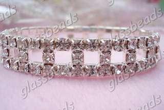 6PCS Fashion Charms White Crystal Rhinestone Bracelets