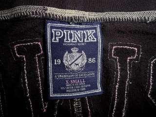 VICTORIAS SECRET PINK BLACK CAPRI CROP SWEAT PANTS XS