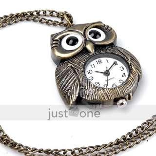 Retro Antique Style Brass Big Eye Owl form Necklace Peandant Quartz