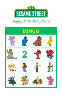 Sesame Street Birthday Party Game Bingo Cards