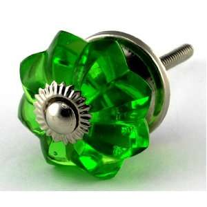 Emerald Green Glass Cabinet Knobs 4pc Cupboard Drawer Pulls & Handles