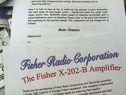 Fisher X 202 B Vacuum Tube Amplifier Restoration Kit
