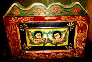 Mexican Folk Art   Gorgeous Painted Wood Retablo w/Angels