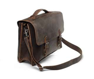 Rustic Large Leather Briefcase Messenger Laptop Bag Double Gussets
