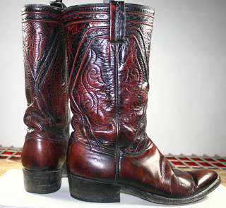 ROCKABILLY VINTAGE LEATHER WESTERN/COWBOY BOOTS MENS sz 8 C STOVEPIPE