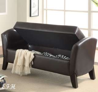 HILLMORE DARK BROWN BYCAST LEATHER STORAGE WOOD ACCENT BENCH