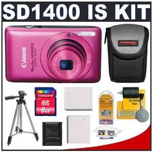 Canon PowerShot SD1400 IS Digital ELPH Camera (Pink) + 8GB Card + Case