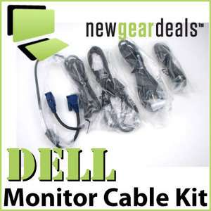 New Dell LCD Monitor Cable Kit   DVI, VGA, USB, Power Cords   V7226