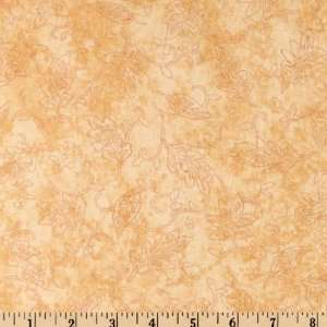 43 Wide Autumn Flannel Outline Leaves Camel Fabric By