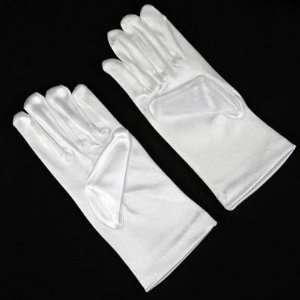 Wedding Flower Girl White Satin Wrist Gloves Large Size 8 12 Ideal for