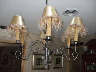 WROUGHT IRON CHANDELIER 6 CANDLE HOLDER W LAMP SHADES