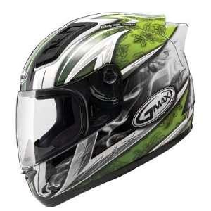 Full Face Street Helmet   White/Green Small   72 4885S Automotive