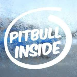 Pitbull Inside Paws Bone White Decal Dog Window White
