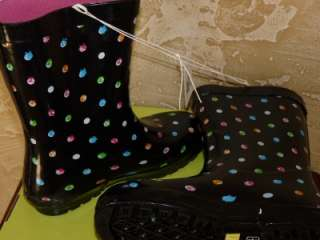 NEW Capelli New York Short Preppy Polka Dot Rubber Rain/Snow Boots