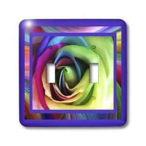 Susan Brown Designs Flower Themes   Rainbow Rose   Light Switch Covers