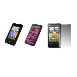 HTC Aria   Premium Hot Pink and Black Zebra Stripes Design